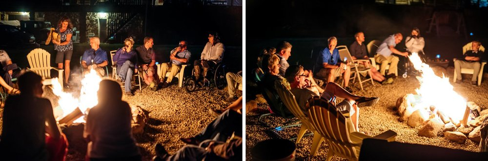 Having a campfire at an intimate lake wedding reception is the best way to end the day! Photo by Maddie Mae Photography