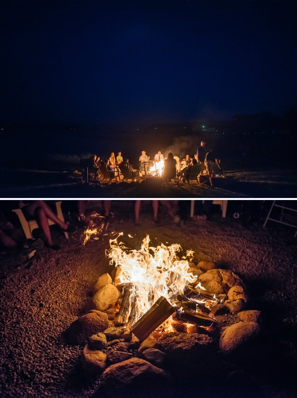 I love camp fires so why not have them at a wedding reception. Intimate weddings are perfect for this so everyone can sit down and reach it! Photo by Maddie Mae Photography  Venue:  North Shore Resort, Grand Lake  Hair & Makeup:  Stacey Rosacci, The Salon at Winter Park  Flowers:  Lace and Lillies