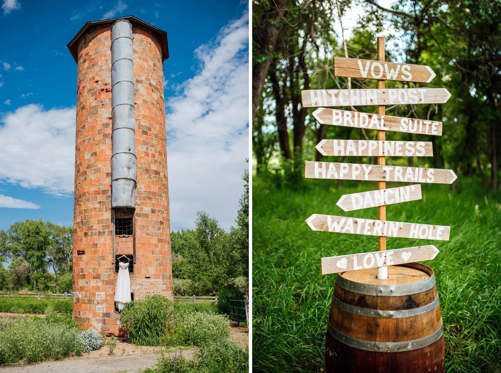 I love the Denver Botanic Gardens at Chatfield! This brick tower is beautiful. Also, the wooden signs in the barrel is such a cute idea to direct guests! Photo by Maddie Mae Photography