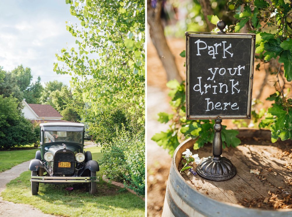 """Park your drink here"" sign where guests can put their beverages. Great idea with the old fashioned car wedding theme! Photo by Maddie Mae Photography"