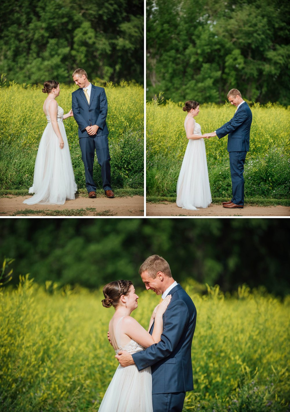 This first look is so cute! And I love the tall grass behind - it adds the perfect backdrop to such a sweet moment. Photo by Maddie Mae Photography