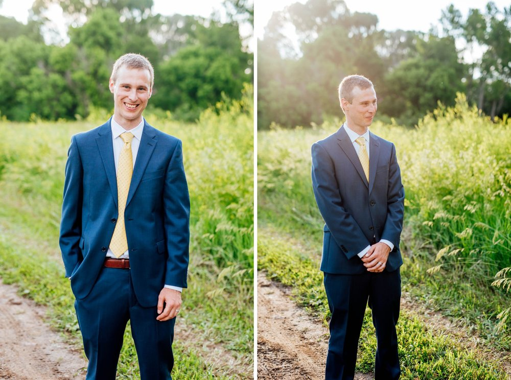 I love this groom's bright blue tuxedo. It is so unique and beautiful! Photo by Maddie Mae Photography