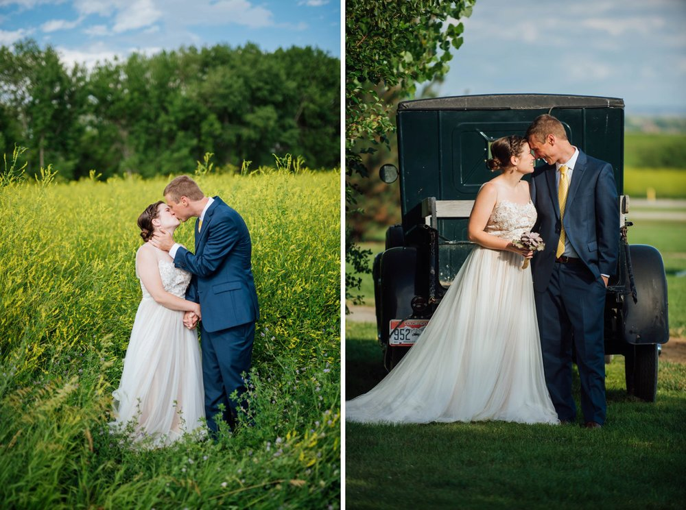I love these fields of tall grass and the picture with the bride and groom standing in front of an old car. Perfect outdoor summer wedding! Photo by Maddie Mae Photography