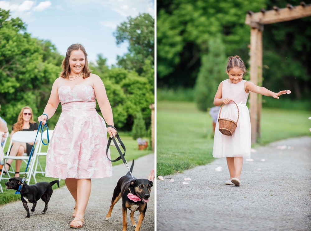 I love dog friendly weddings. Especially when they're incorporated into the ceremony like these cute pups! Photo by Maddie Mae Photography