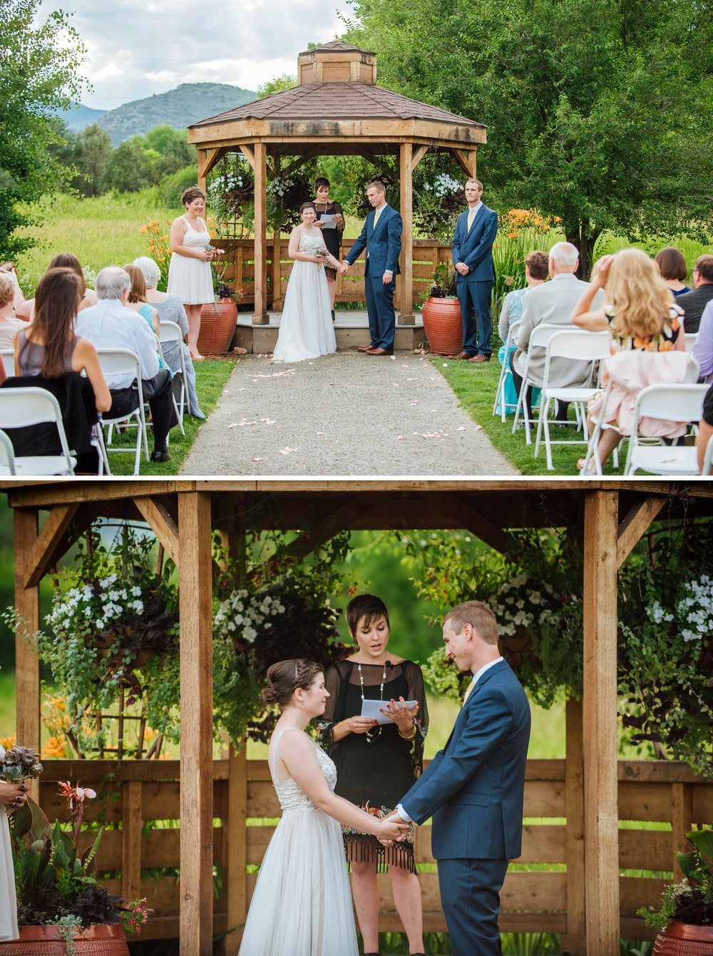 The gazebo at the Denver Botanic Gardens is the most beautiful place for a wedding ceremony. Photo by Maddie Mae Photography