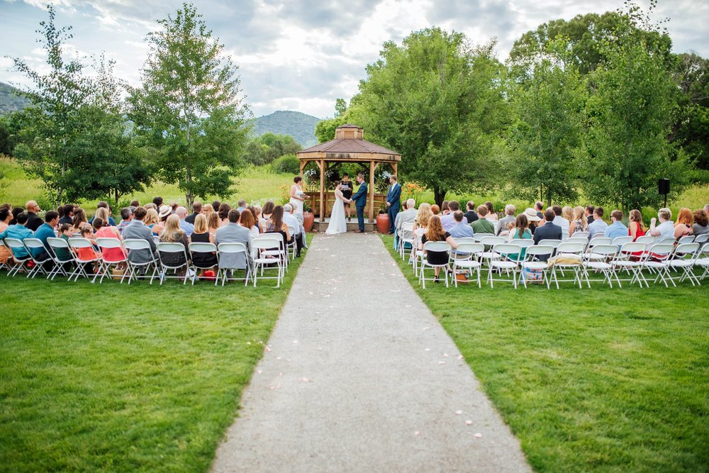 The outdoor chapel at the Denver Botanic Gardens at Chatfield is an awesome venue for a Colorado summer wedding. Photo by Maddie Mae Photography