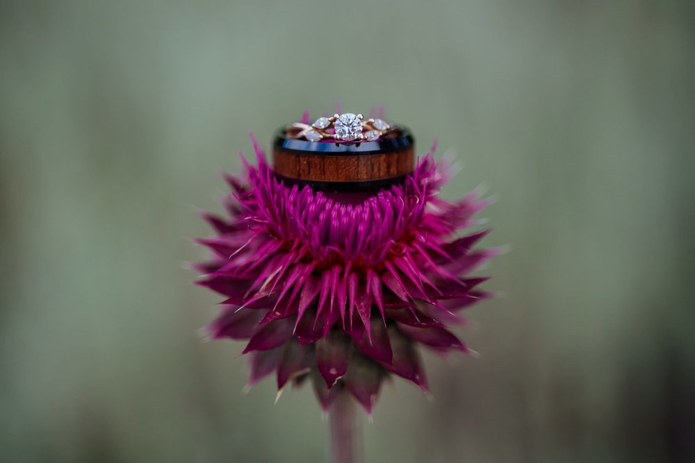 The wood around this wedding band is super cute! Photo by Maddie Mae Photography