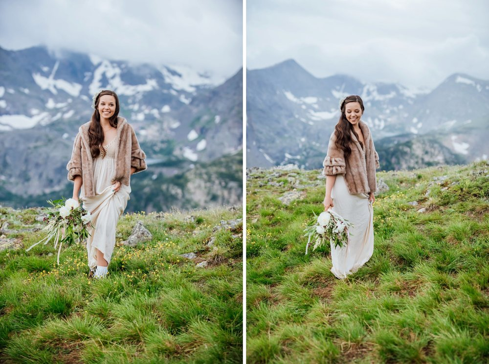 In Colorado, it can get pretty cold in the mountains. This bride was so smart pairing a fur jacket with her cotton dress. Photo by Maddie Mae Photography