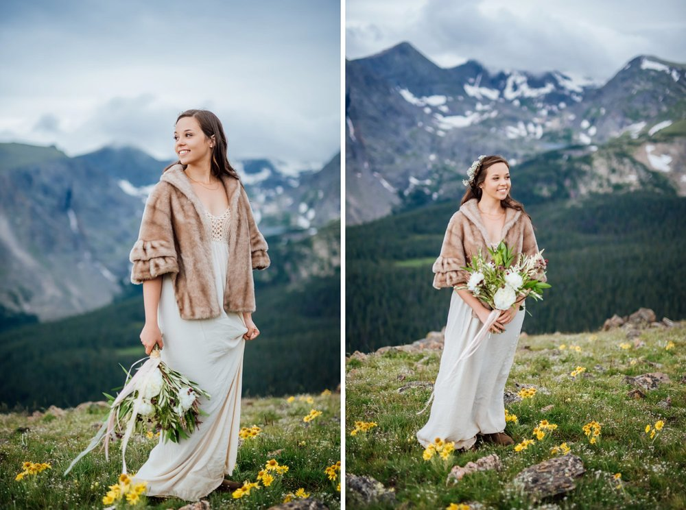 This fur jacket pairs so well with the flowing cotton dress. Beautiful mountain wedding in Rocky Mountain National Park. Photo by Maddie Mae Photography