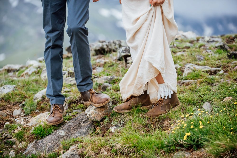 Hiking boots are a must for rocky mountain weddings. Photo by Maddie Mae Photography
