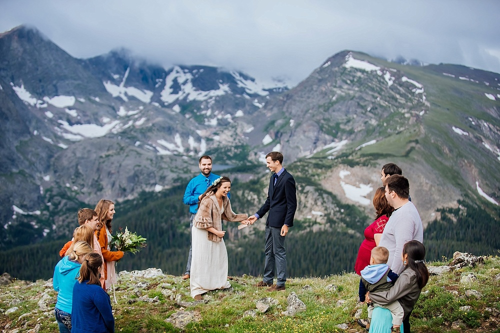 This beautiful intimate wedding was photographed on Trail Ridge road in Rocky Mountain National Park near Estes Park, Colorado. RMNP elopement photographer- Maddie Mae Photography.