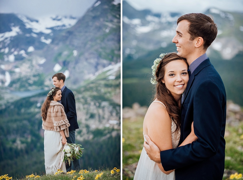 This couple got the most epic mountain wedding photos. They eloped near trail ridge road in Rocky Mountain National Park. Photo by Estes Park Elopement Photographer, Maddie Mae Photography.