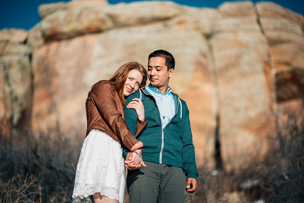 Horsetooth rock is a great place for an engagement photo session hike for adventurous couples! Photo by Maddie Mae Photography