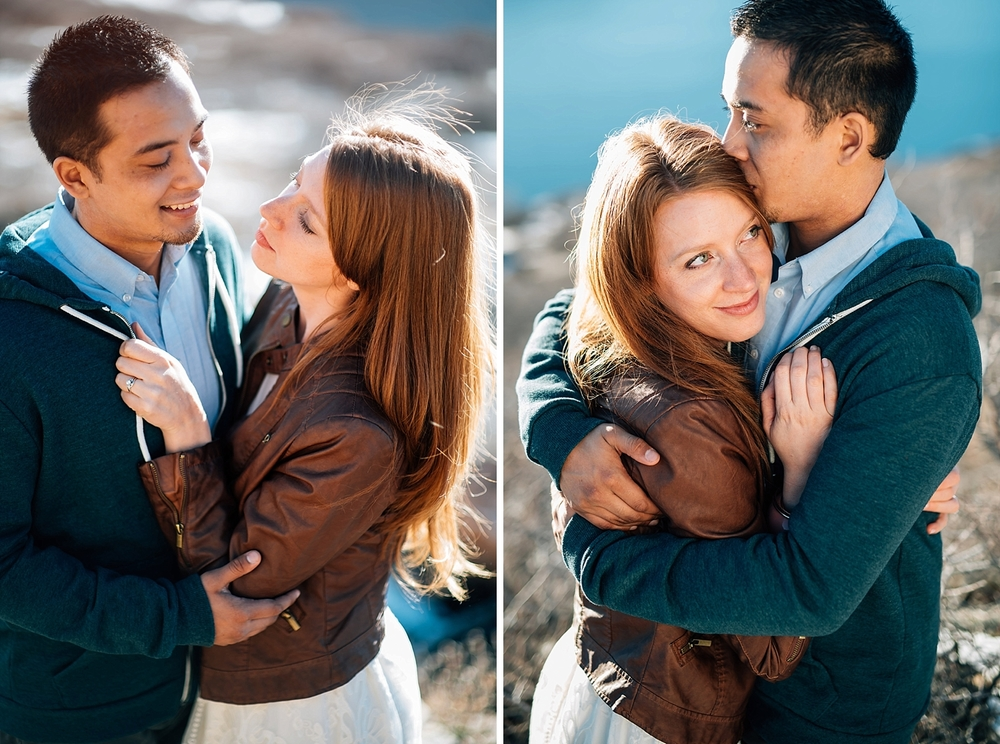 I love the way her red hair shines in the sunset in this beautiful engagement photo! Photo by Maddie Mae Photography