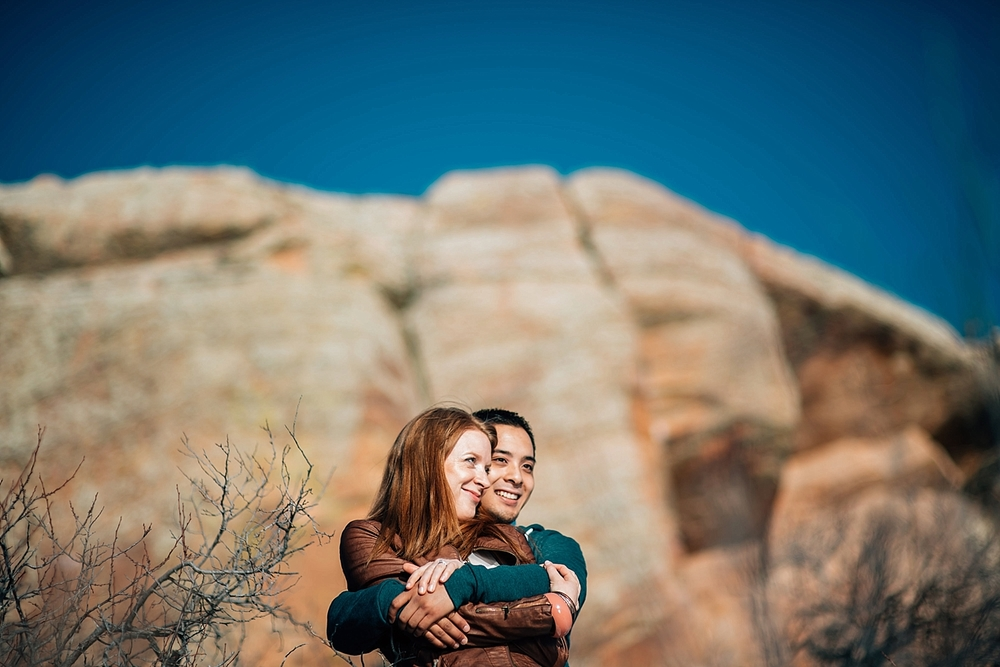 This is such a sweet engagement photo at Horsetooth reservoir in Fort Collins. Photo by Maddie Mae Photography