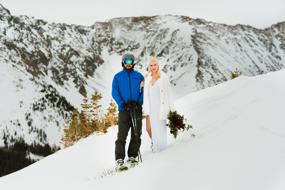 Eloping on the slopes... any adventurous couple would love to get married in Keystone, Colorado like Britta and Colin did! | Adventurous elopement photos by Maddie Mae