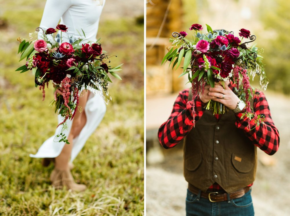 Dark berry tones elopement inspiration. This bouquet by florist Lace and Lillies includes dep rich purple, fuchsia, berry, marsala, burgundy, maroon, and rose and anemone bouquet. Perfect for a rustic mountain wedding! | Photo by Maddie Mae