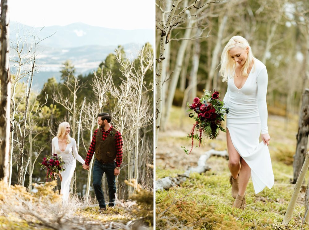 I'd love to get married in the breathtaking forest in the mountains near Blackhawk Colorado... those Aspen trees! | Photo by adventurous Colorado mountain elopement photographer, Maddie Mae Photography.