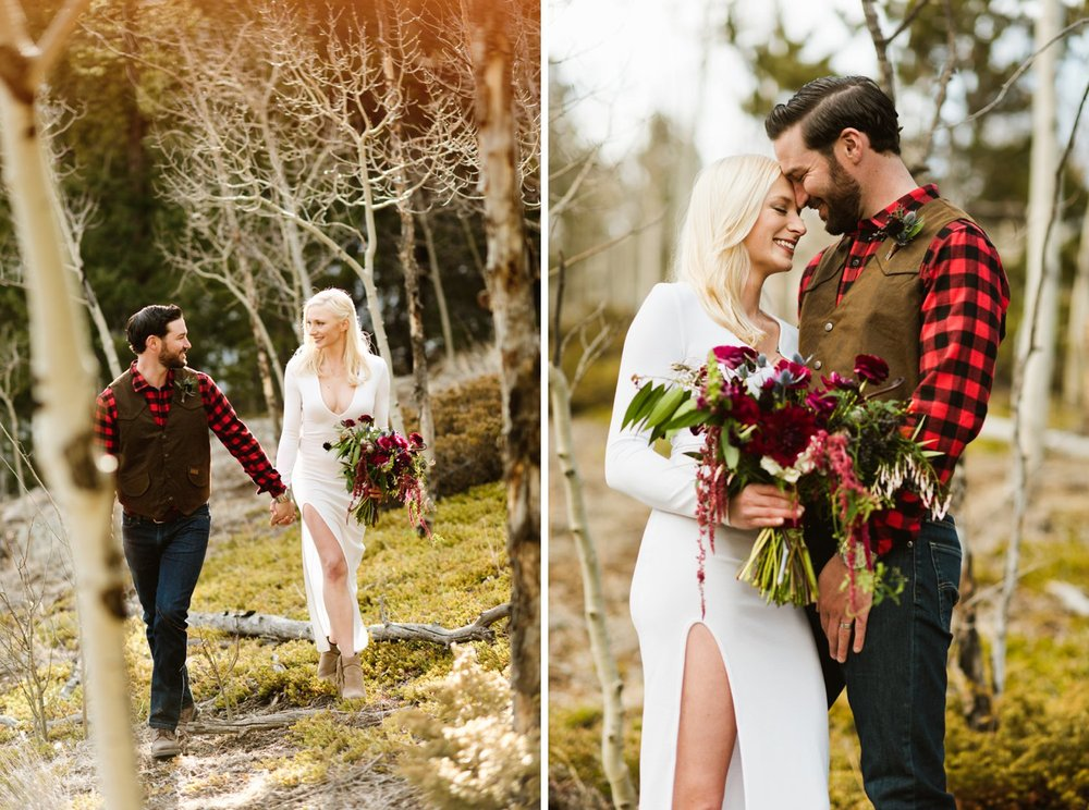 What a stunning area to get married in a woodland of aspen trees! Britta and Colin hiked around near their rustic cabin in Black Hawk, Colorado for their adventurous mountain elopement! | Photo by Maddie Mae Photography.
