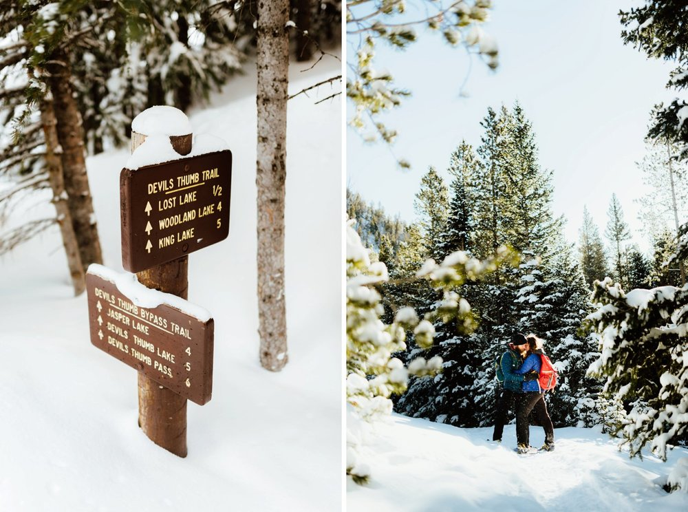 Pure romance happening here at this breathtaking winter, mountain engagement photoshoot. Indian Peaks Wilderness area has the most amazing trails to snowshoe like Lost Lake and Devil's Thumb Pass... I want to have my engagement session here! | Lost Lake engagement photos by adventurous Colorado wedding photographer, Maddie Mae.