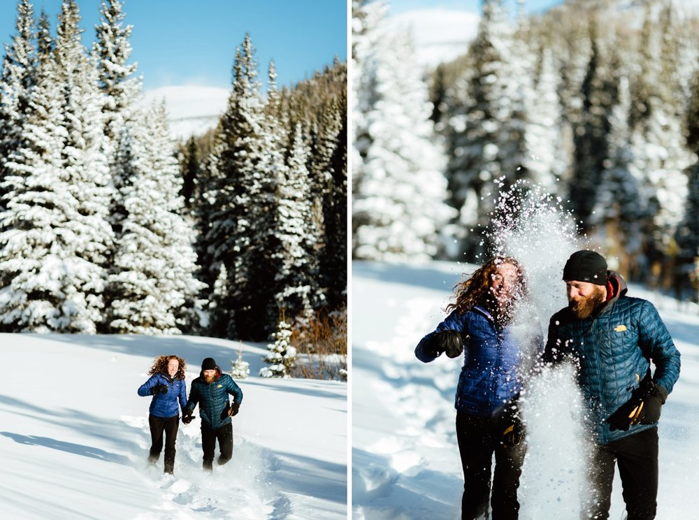 I really want a winter wedding and these winter hiking engagement photos make me want it even more!! I absolutely love the snow falling around this intimate couple! | Colorado engagement photos by intimate engagement photographer, Maddie Mae.