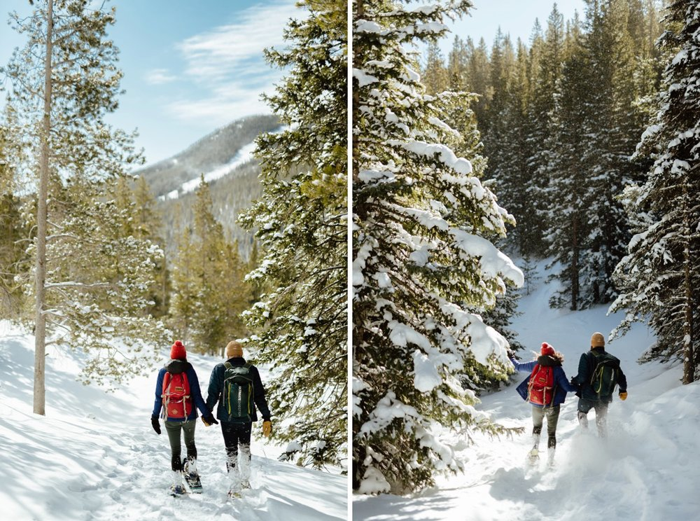 "I never would've thought to do such an intimate and adventurous engagement photoshoot! What a great idea to go snowshoeing in the mountains with an adventurous engagement photographer before you say ""I Do""! 