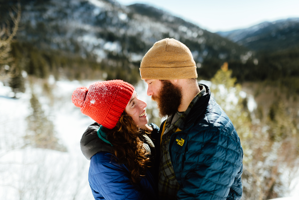 Lost Lake Trail in Indian Peaks Wilderness Area has some of the best views in Colorado's Rocky Mountains. I'd absolutely love to have my own snowshoeing engagement photos taken in this hiking area! | Intimate engagement photos by Colorado engagement photographer, Maddie Mae.