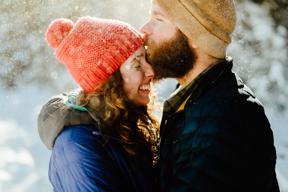 I definitely want my engagement shoot in the mountains in January! Lost Lake trail in Colorado looks like the perfect spot for dreamy, winter photos! | Mountain engagement photos by intimate Colorado engagement photographer, Maddie Mae.