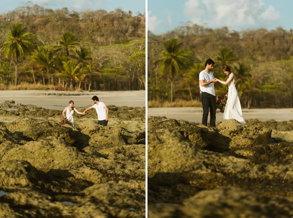 Costa Rica's Nicoya Peninsula has the most lush rainforests surrounding it's rocky beaches. I love the idea of doing a sunset destination elopement on Santa Teresa Beach! | Destination wedding photography by adventure elopement photographer, Maddie Mae.