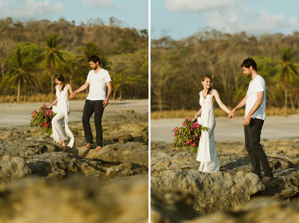 I love this gorgeous beach photoshoot of Stefan and Martina eloping on Costa Rica's Nicoya Peninsula. A destination elopement is totally on my list for great wedding ideas! | Beach wedding photography by destination wedding photographer, Maddie Mae.