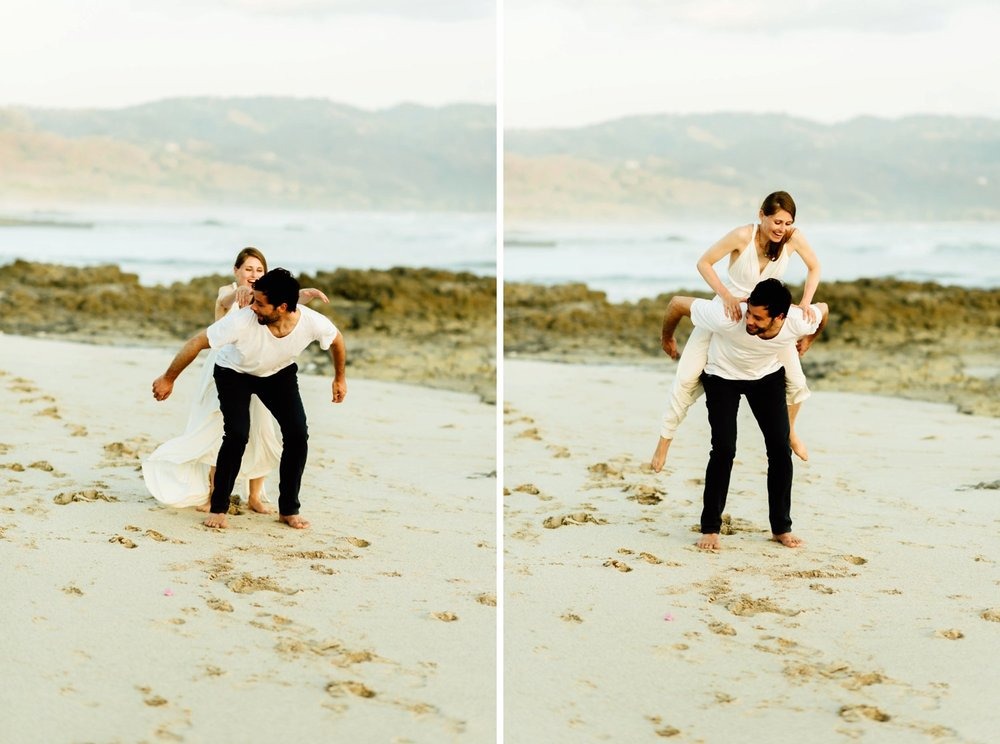 How sweet are Stefan and Martina?! I love this adorable piggy back pose sequence of wedding photos! | Intimate wedding photography by intimate Costa Rica destination wedding photographer, Maddie Mae.