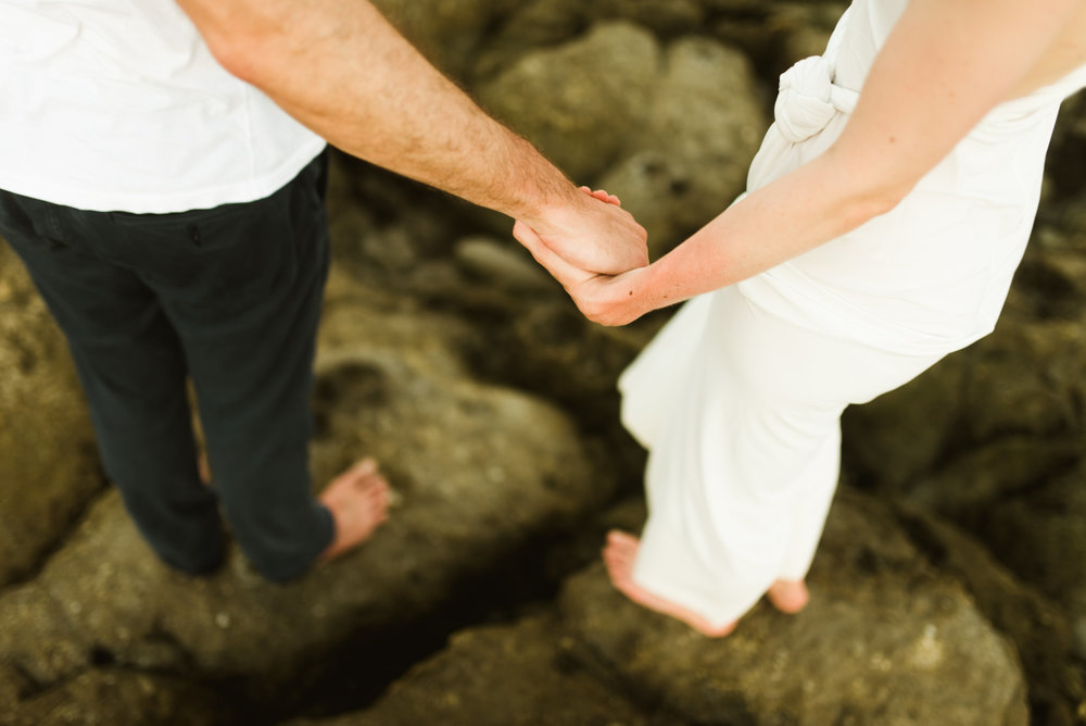 Barefoot and together on the beach... what a better way to get married? I love small elopements and weddings like this one on Santa Teresa beach in Costa Rica! | Intimate wedding photography by Costa Rica destination wedding photographer, Maddie Mae.
