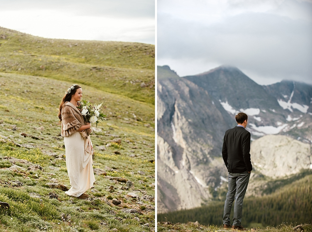 These first look photos are adorable! I absolutely love the idea of a first look on the top of a mountain on Trail Ridge Road! | Rocky Mountain National Park elopement photos by adventure wedding photographer, Maddie Mae.