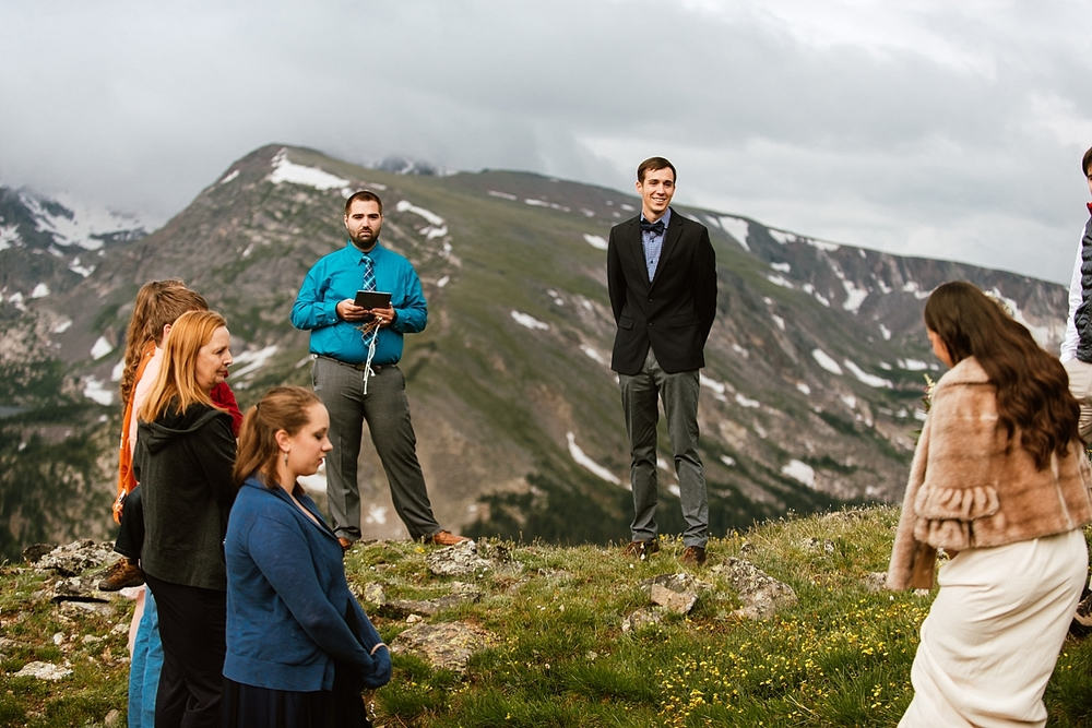 How amazing is the fur shawl Jessica is wearing on her wedding day? I love this mountain wedding attire! | Intimate mountain wedding photos by Colorado elopement photographer, Maddie Mae.