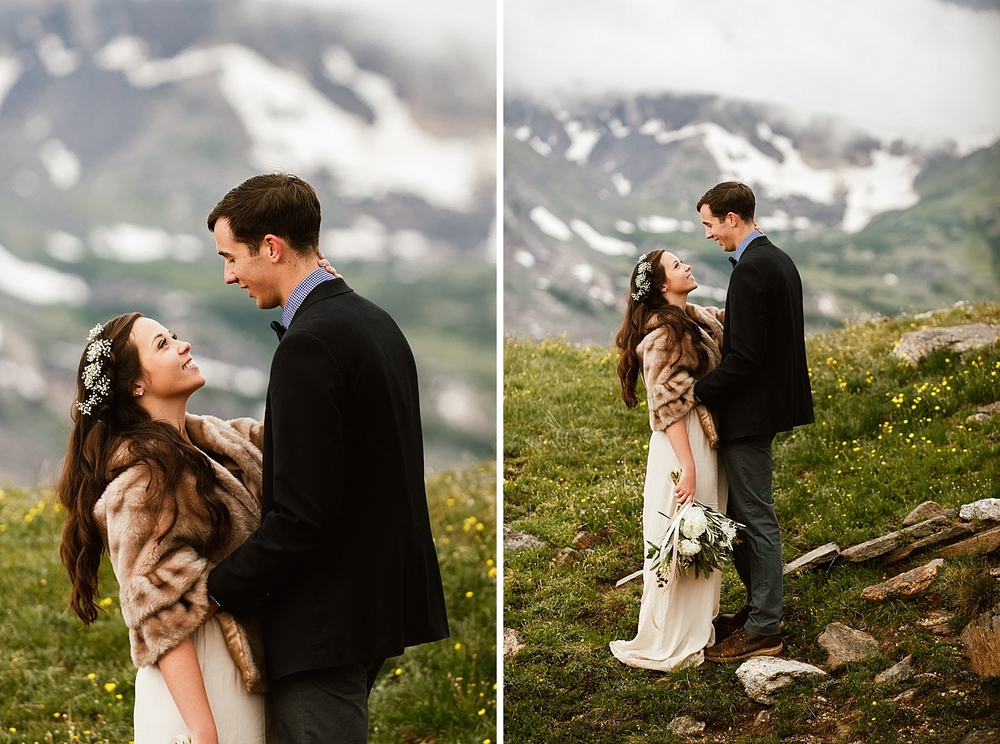 This Baby's Breath flower crown is exactly what I want for my wedding hairstyle! It fits in perfectly with a small mountain wedding on Trail Ridge Road in Rocky Mountain National Park! | RMNP mountain elopement photos by Colorado destination wedding photographer, Maddie Mae.