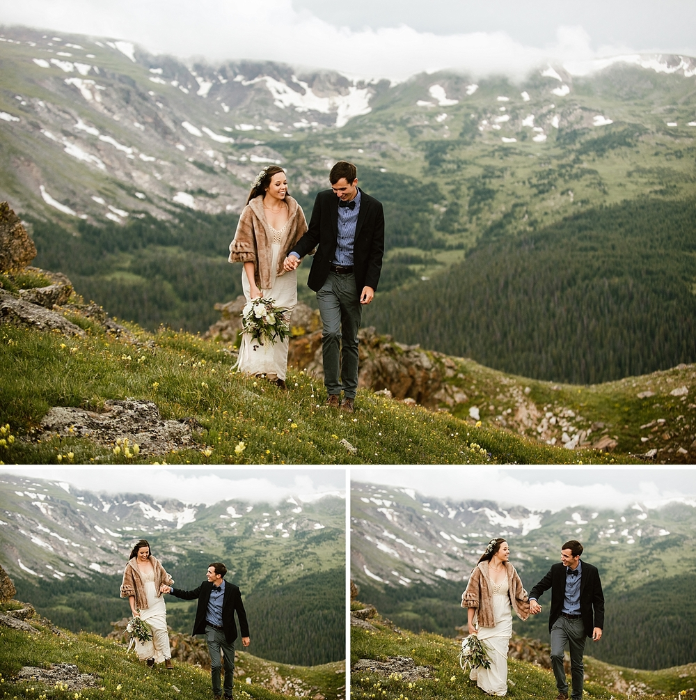These photos from Jessica and Edward's intimate mountain elopement are such a great inspiration for my own mountain wedding! The high alpine tundra up on Trail Ridge Road makes the perfect epic backdrop for a Colorado mountaintop intimate wedding ceremony| Rocky Mountain National Park elopement photos by Colorado Estes Park wedding photographer, Maddie Mae.