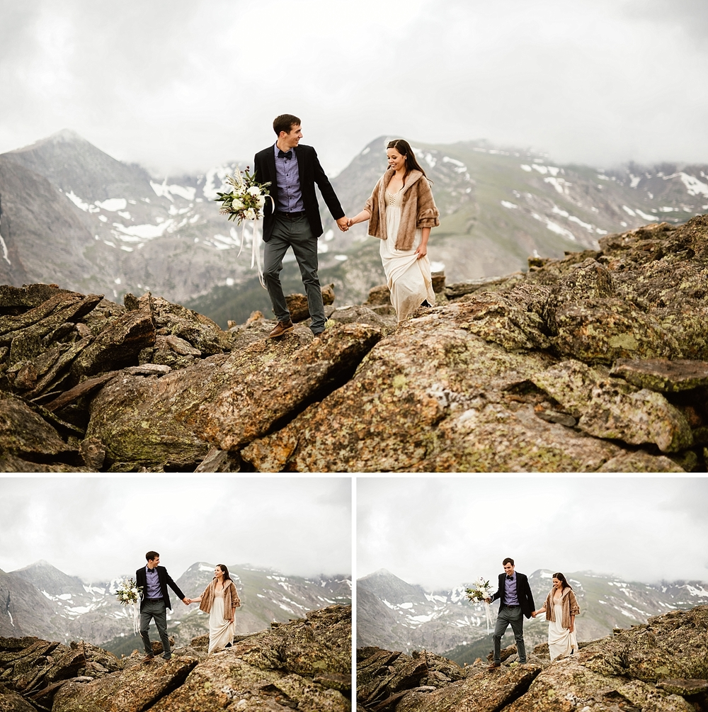 I love that this couple hiked around the mountains on their wedding day! Such a good idea to spend some quality time as a couple after getting married! | Rocky mountain national park trail ridge road elopement photos by rmnp wedding photographer, Maddie Mae.