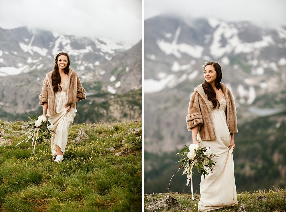 I am seriously in love with Jessica's crochet wedding dress and her fur shawl! So perfect for a mountain wedding dress in Colorado! | Tundra high alpine elopement photos by Colorado wedding photographer, Maddie Mae.