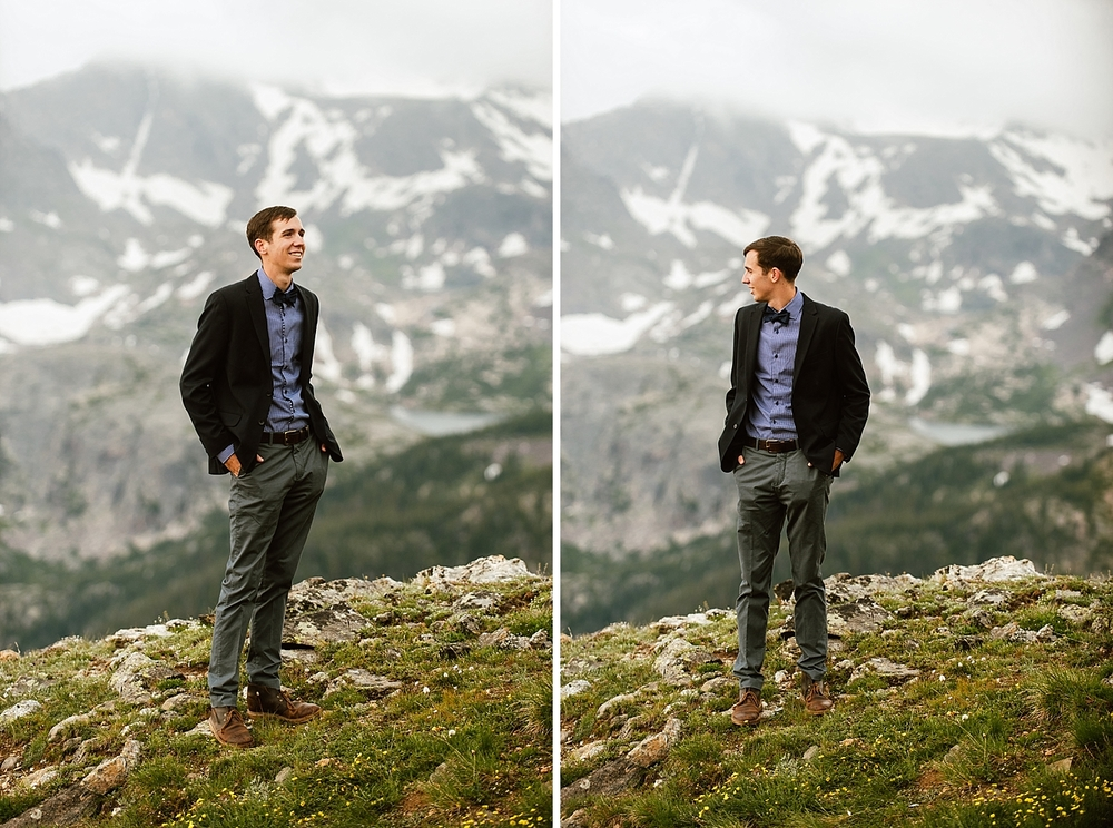 I love this grooms's semi-formal wedding attire! Perfect for an intimate mountain wedding! | Mountain elopement photos by adventure wedding photographer, Maddie Mae.