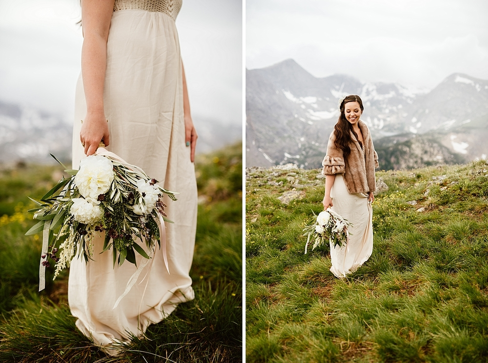 I love this champagne colored wedding dress with vintage fur shawl! It's so much prettier than the classic white dresses you usually see at weddings. | Romantic mountain elopement photos by Colorado adventure wedding photographer, Maddie Mae.