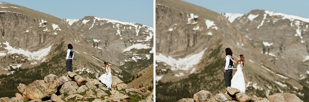 I love this first look in Rocky Mountain National Park! Such a beautiful view! | First Look Tunrad sunrise elopement photos by RMNP wedding photographer, Maddie Mae.