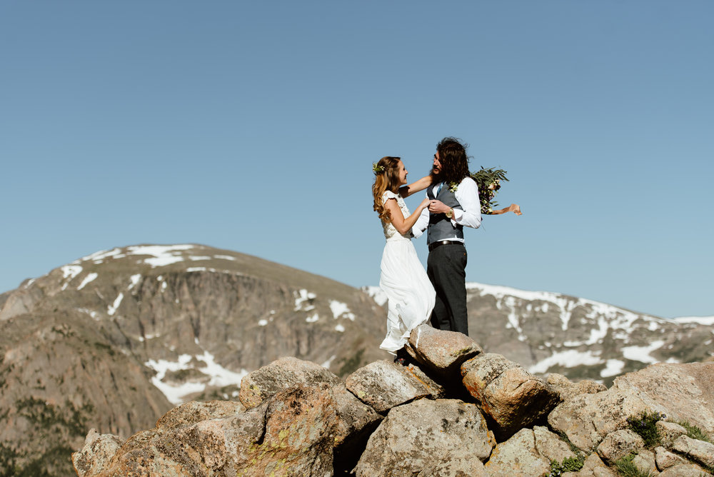 So obsessed with this whole wedding! This RMNP first look is incredible! | Rocky Mountain National Park elopement photos by Colorado intimate wedding photographer, Maddie Mae.