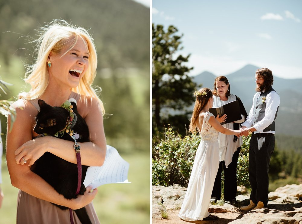 "How precious is it that Erin and Graham even had their cat (@exploration_cat) Quandry ""Q"" at the mountain wedding!? I love Rocky Mountain National Park for a wedding location! 