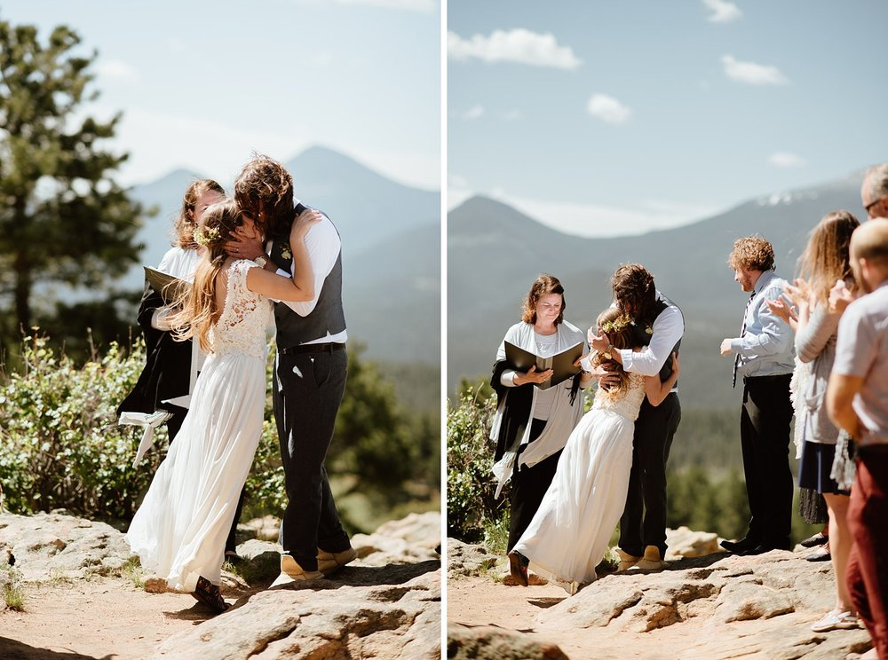 What a beautiful wedding ceremony at 3M Curve in Rocky Mountain National Park in the Colorado Rocky mountains! Congrats to the happy couple! | Adventure mountain elopement photos by Colorado adventure wedding photographer, Maddie Mae.