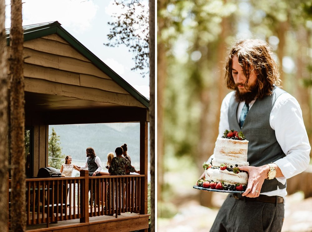 How incredible is that wedding cake?! I love it for a rustic mountain wedding! | Informal non-traditional-mountain backyard cabin wedding photos by Colorado elopement photographer, Maddie Mae.
