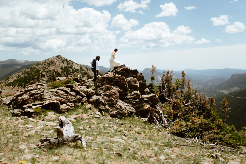 Erin and Graham's intimate wedding ceremony is so amazing! I love this mountain wedding! | Mountain adventure elopement photos by Colorado outdoor wedding photographer and Rocky Mountain National park Wedding Photographer, Maddie Mae.