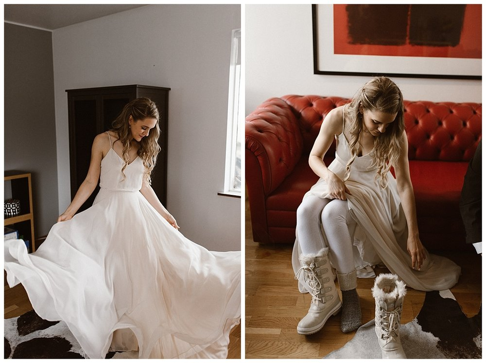 Making sure her dress would move in the winds they knew to expect and putting on her fuzzy white hiking boots, Julie was a vision of Icelandic perfection. Intimate wedding photos captured by traveling photographer Maddie Mae.