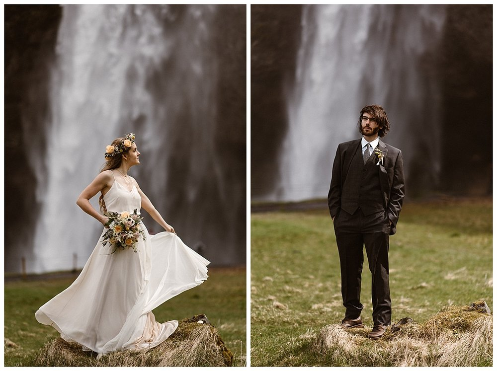 Like characters from a fairytale, Julie and Tim stood atop a grassy knoll with Seljalandsfoss waterfall in the background. This intimate Iceland elopement captured by traveling wedding photographer Maddie Mae.