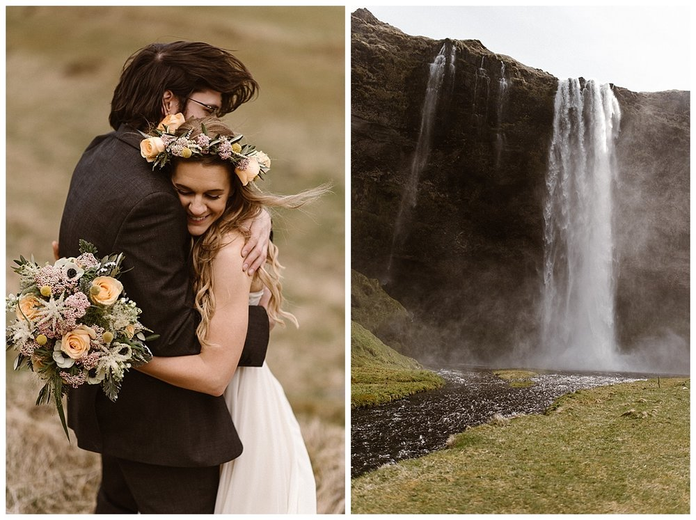 Julie's bright colored bouquet glowed against Tim's dark suit and the deep tones of the Icelandic landscape they had chosen for their intimate elopement. Photos by wedding photographer Maddie Mae.
