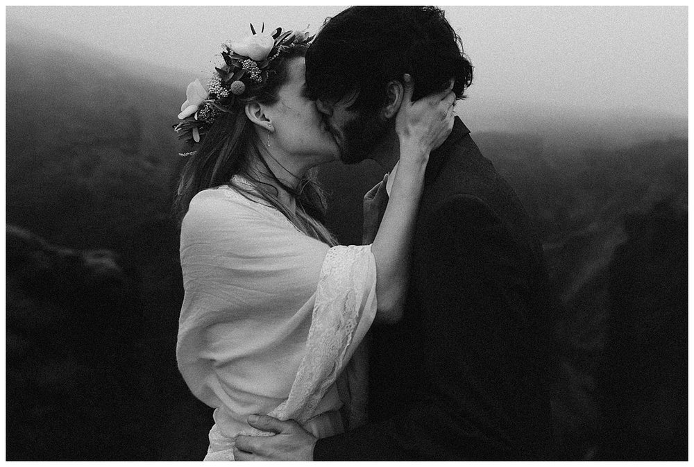 Looking like a scene from a vintage fairy tale, Julie and Tim wed up Fjadrargljufur Canyon in Iceland with only their intimate wedding photographer, Maddie Mae as their witness.